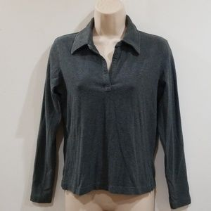 Gap stretch women's charcoal gray medium blouse